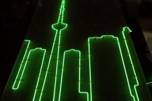 Toronto skyline with EL wire