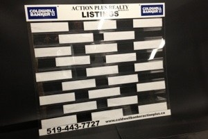 Real estate listing board and business card and brochure holder